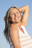 Joyful attractive retired mature woman outdoor Stock Photography