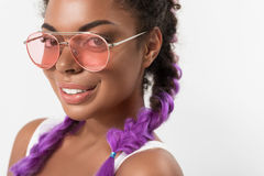 Joyful attractive teenager with fashionable colored hairdo Royalty Free Stock Photography