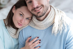 Joyful attractive woman embracing her boyfriend Royalty Free Stock Photography
