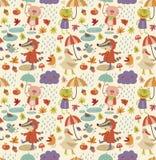 Joyful autumn pattern with cute characters Stock Photo