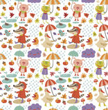 Joyful autumn seamless pattern with cute animal Stock Photography