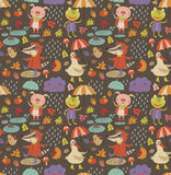 Joyful autumn seamless pattern with cute characters Stock Images