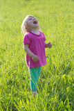Joyful baby girl looking up in medow stock photo