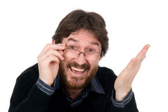 Joyful bearded man wearing spectacles Royalty Free Stock Photos