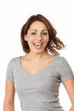 Joyful Beauty Model. Portrait Of A Joyful Beautiful Brown-Haired Woman Royalty Free Stock Photo