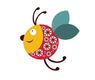 Joyful bee on a white background. Joyful bee isolated on a white background Royalty Free Stock Images