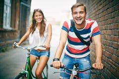 Joyful bicyclist Royalty Free Stock Images