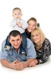 Joyful big family posing. Isolated on white background Royalty Free Stock Image