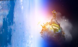 Joyful black man wearing casual clothes running in space. Mixed media royalty free stock images