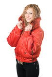 Joyful blonde in red jacket Royalty Free Stock Photos