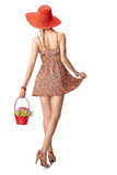 Beauty fashion. Joyful boho slim model girl, summer, people Royalty Free Stock Photos