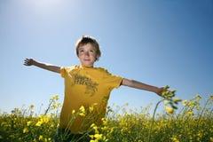 Joyful boy in canola field royalty free stock photography