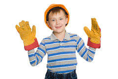 Joyful boy in the construction helmet Royalty Free Stock Images