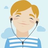 Joyful boy listening music illustration Royalty Free Stock Image