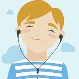 Joyful boy listening music illustration. Flat illustration of happy little smiling boy in casual t-shirt walking and listening to music via headphones. Modern Royalty Free Stock Image