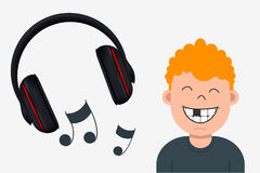 Joyful Boy with Missing Tooth Listening to Music. Headphone and Stock Photography