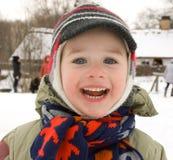 A joyful boy in winter Royalty Free Stock Photos