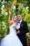 Joyful bride and groom in autumn leaves Stock Image