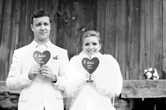 Joyful bride and groom Royalty Free Stock Image