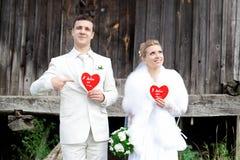 Joyful bride and groom Stock Photos