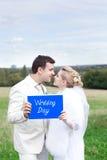 Joyful bride and groom Stock Image
