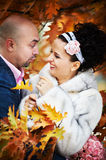 Joyful bride and groom in yellow autumn foliage Royalty Free Stock Photography