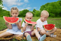 Joyful brothers and sister eating watermelon Stock Images