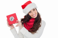 Joyful brunette presenting christmas gift Royalty Free Stock Photography