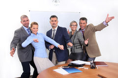 Joyful business team in office Stock Images