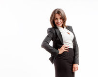 Joyful business woman. Portrait of joyful business woman on white background royalty free stock images