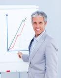 Joyful businessman giving a presentation Stock Image