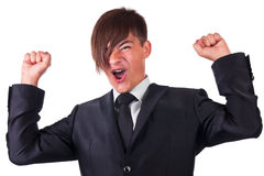 Joyful businessman raised his hands Royalty Free Stock Photography