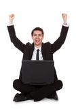 Joyful businessman rejoicing Royalty Free Stock Photos