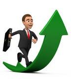 Joyful businessman running on the green arrow Stock Photos