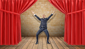 A joyful businessman standing at a wooden stage between red curtains in a victory pose. Business awards. Award winner. Best salesman Royalty Free Stock Photo