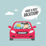 Joyful businessman traveling by car with suitcases and say Have a nice vacation. Stock Images