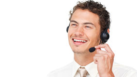Joyful businessman using headset Royalty Free Stock Image