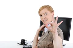Joyful businesswoman Stock Photo