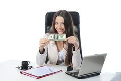 Joyful businesswoman. In the office with  dollar banknotes. Isolated on white Stock Photos