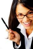 Joyful businesswoman royalty free stock photography