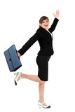 Joyful businesswoman. Joyful and cheerful businesswoman with briefcase isolated on white background Royalty Free Stock Image