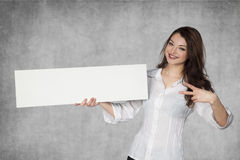 Joyful businesswoman with copy space. Joyful business woman with copy space Stock Image