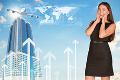 Joyful businesswoman in dress. World map, buildings and arrows as backdrop Royalty Free Stock Photography