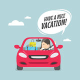 Joyful businesswoman traveling by car with suitcases and say Have a nice vacation. Vector illustration Stock Images