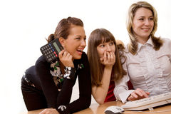 Joyful businesswomen at office Royalty Free Stock Photography
