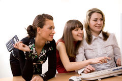 Joyful businesswomen at office Royalty Free Stock Image