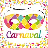 Joyful Carnival illustration with beautfiul Harlequin mask on a colorful confetti and streamers background. Stock Photo