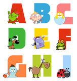 Joyful cartoon alphabet collection 1. Colorful collage of funny cartoons stock illustration