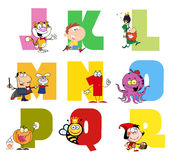 Joyful cartoon alphabet collection 2. Colorful collage of funny cartoons stock illustration