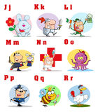 Joyful cartoon alphabet collection 2. Alphabet letters and pictures j through r royalty free illustration